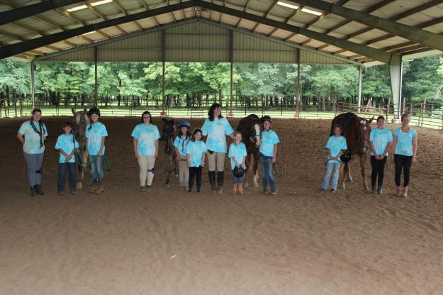 Campers in the covered arena